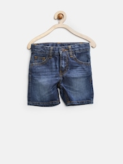 United Colors of Benetton Boys Blue Washed Denim Shorts