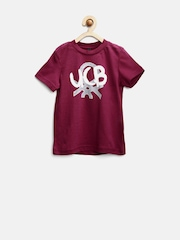 United Colors Of Benetton Boys Maroon Printed T-Shirt
