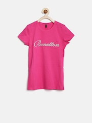 United Colors of Benetton Girls Pink Shimmer T-shirt