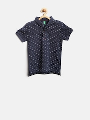 United Colors of Benetton Boys Navy Dot Print Polo T-shirt