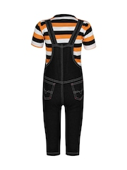 Jazzup Boys Black & Orange Dungarees with Top