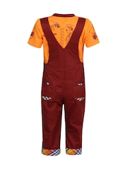 Jazzup Boys Orange & Maroon Embroidered Dungarees with T-shirt