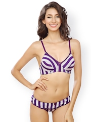 Lady Love Purple & White Striped Lingerie Set LLSET5015