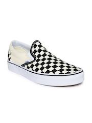 Vans Unisex Black & Cream-Coloured Classic Checked Slip-Ons