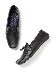 Mast & Harbour Men Black Square-Toed Boat Shoes