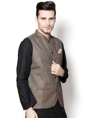 even Brown Striped Slim Fit Nehru Jacket