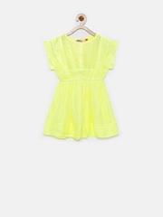 People Girls Yellow Liva Fit & Flare Dress