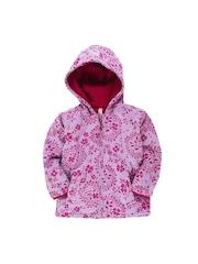 Oye Boys Pink Printed Hooded Jacket