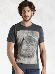 Roadster Grey Printed T-shirt