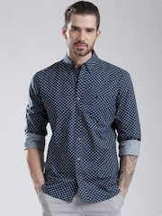 French Connection Navy Printed Casual Shirt
