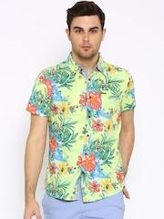 Being Human Clothing Yellow Floral Print Slim Casual Shirt