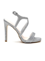 New Look Women Silver-Toned Textured Shimmer Stilettos