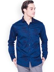 Mufti Navy Printed Slim Fit Casual Shirt