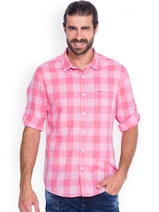 Mufti Pink Checked Slim Fit Casual Shirt