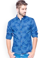 Mufti Blue Checked Slim Fit Casual Shirt