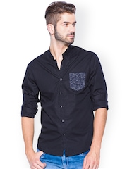 Mufti Black Slim Fit Casual Shirt