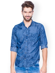Mufti Blue Printed Slim Fit Casual Shirt