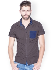 Mufti Olive Brown Slim Fit Casual Shirt