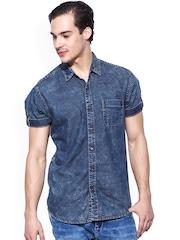 Mufti Blue Washed Denim Slim Fit Casual Shirt