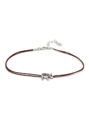 Accessorize Brown & Oxidised Silver-Toned Anklet