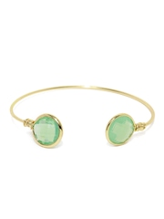 Accessorize Gold-Toned & Green Cuff Bracelet
