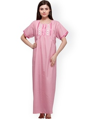 Vedvid Pink Checked Maternity Maxi Nightdress