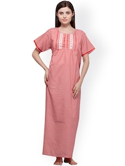 Vedvid Red Checked Maternity Maxi Nightdress