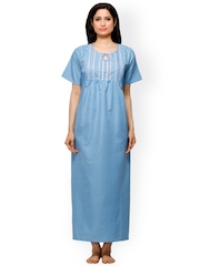 Vedvid Blue & White Checked Maternity Maxi Nightdress SCFD