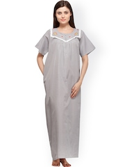 Vedvid Black & White Striped Maternity Maxi Nightdress ST