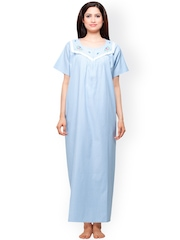 Vedvid Blue & White Checked Maternity Maxi Nightdress ST