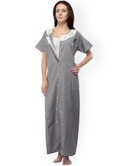 Vedvid Black & White Checked Maternity Maxi Nightdress BCFO