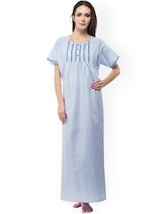 Vedvid Blue & White Striped Maternity Maxi Nightdress STFD