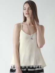 FOREVER 21 Cream-Coloured Top with Lace Detail