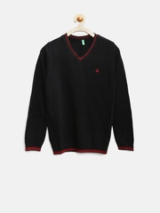 United Colors of Benetton Boys Black Lambswool Sweater