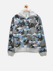 United Colors of Benetton Boys Grey Camouflage Print Hooded Sweatshirt