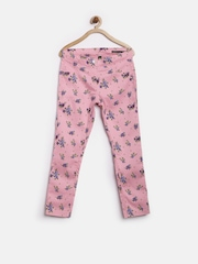 United Colors of Benetton Girls Pink Printed Skinny Treggings
