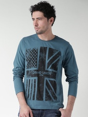 Moda Rapido Teal Blue Printed T-shirt