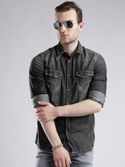 GASCharcoal Grey Washed Slim Denim Shirt