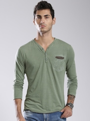 GAS Olive Green Henley T-shirt