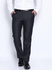 Park Avenue Navy Smart Low-Rise Formal Trousers