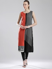 W Multicoloured Panelled Kurta with Embroidered Detail
