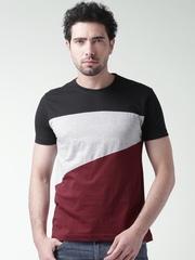 Moda Rapido Grey Melange & Maroon T-shirt