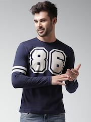Moda Rapido Navy Printed T-shirt