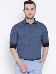 Blackberrys Navy Printed Slim Fit Smart Casual Shirt