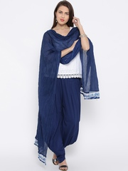 BIBA Navy Crinkled Dupatta with Embroidered Detail