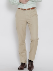 Peter England Khaki Slim Formal Trousers