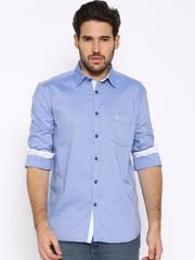 Parx Blue Slim Fit Casual Shirt