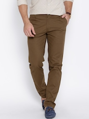 Hubberholme Brown Structured Fit Casual Trousers