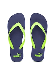 PUMA Men Neon Green & Navy Flip-Flops