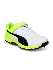 PUMA Men White & Yellow evoSPEED Leather Cricket Shoes